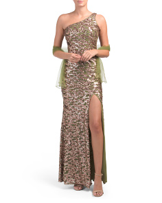 Petite One Shoulder Beaded Gown