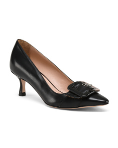 Made In Italy Leather Kitten Heel Pumps