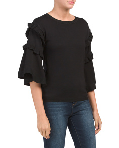 Sweater With Ruffle Frill Sleeve Detail