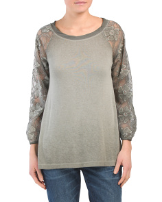 Made In Italy Flower Lace Jersey Top