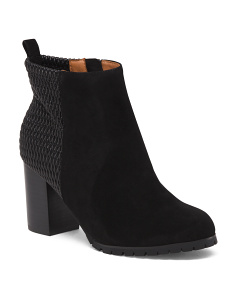 Leather Comfort Stretch Ankle Booties