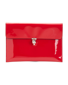 Made In Italy Patent Leather Pouch With Skull
