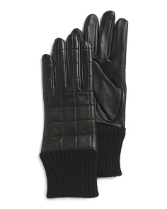Quilted Leather Gloves With Athleisure Cuffs