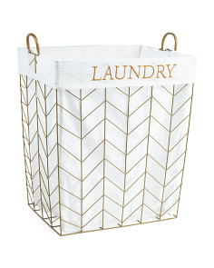 Large Chevron Metal Tapered Laundry Hamper