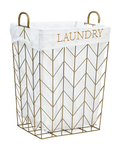 Small Chevron Metal Tapered Laundry Hamper