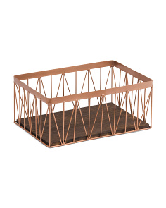 Geometric Metal & Wood Storage Basket