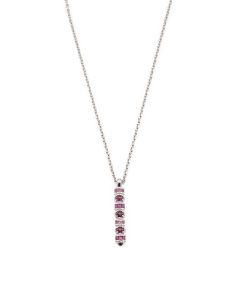 Sterling Silver Rhodolite Mardi Gras Linear Necklace