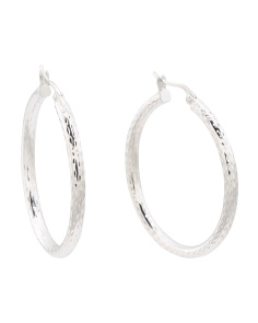 Made In Thailand Sterling Silver 30mm Hoop Earrings