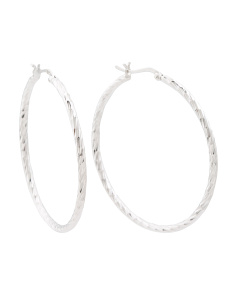 Made In Thailand Sterling Silver 45mm Hoop Earrings