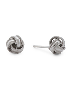 Made In Thailand Sterling Silver 8mm Love Knot Earrings