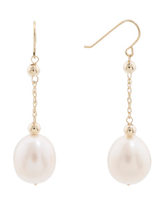 Made In Usa 14k Gold Pearl Drop Earrings