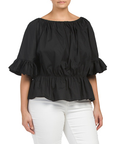 Plus Poplin Flounce Top