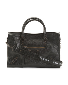 Made In Italy Leather Classic City Satchel - Not Returnable to Stores