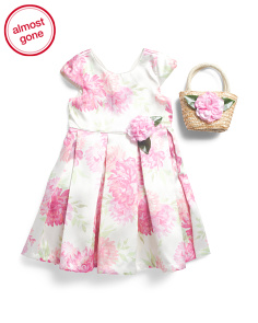Little And Big Girls Floral Dress With Matching Purse