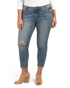 Plus Lightly Distressed Straight Jeans