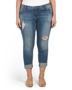 Plus 5 Pocket Boyfriend Destructed Jeans
