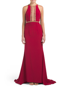 Sleeveless Gown With Bodice Accent