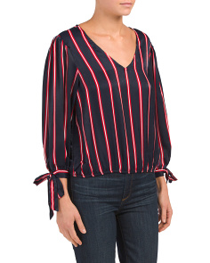 Juniors Striped Satin Top