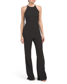 Juniors Textured High Neck Jumpsuit