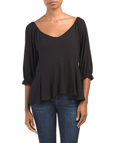 Made In Usa Three-quarter Sleeve Peplum Top
