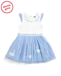 Toddler Girls Glitter Swan Border Print Tutu Dress