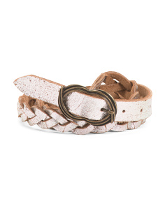 Women's Made In Italy Braided Leather Belt