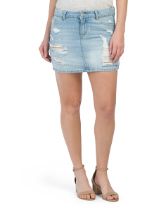 Juniors Rigid Denim Destructed Skirt
