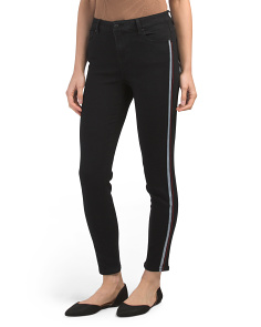Juniors Athletic Stripe Skinny Jeans