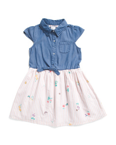 Big Girls Tie Front Floral Striped Denim Dress