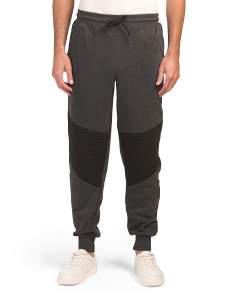 Fleece Tapered Joggers With Moto Detail