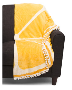 Lemon Poms Round Throw