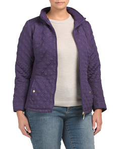 Plus Stretch Quilted Moto Jacket