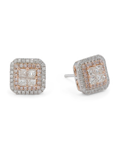 14k Gold And Princess Cut Diamond Stud Earrings