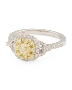 14k White Gold Yellow And White Diamond Ring