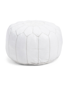 Made In Morocco Leather Pouf