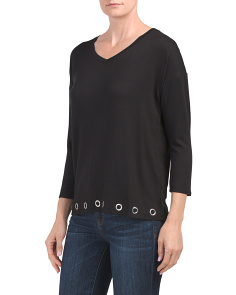 V Neck Top With Grommet Trim