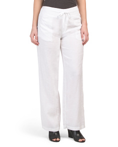 Linen Pull On Pants With Drawstring Waist