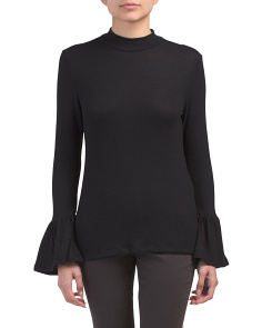 Long Bell Sleeve Mock Neck Top