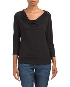 Cowl Neck Shirred Top With Zipper Accent