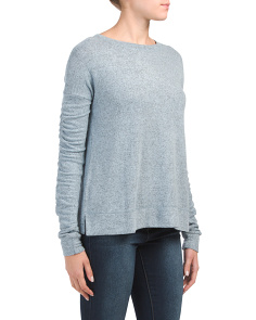 Dropped Shoulder Ruched Crew Neck Top