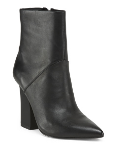 Leather Pointed Toe Ankle Booties