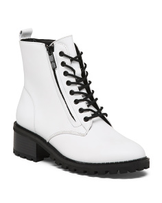Side Zip Lug Sole Leather Combat Boots