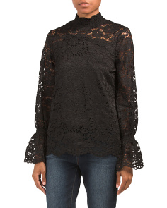 High Neck Long Sleeve Lace Top