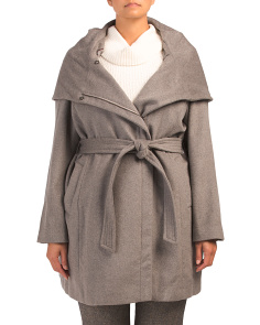Plus Wool Coat With Wrap Belt