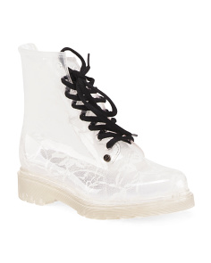 Lace Up Lug Sole Rain Booties