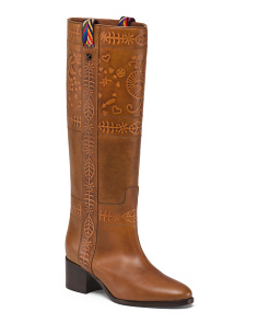 Made In Italy Knee High Embossed Leather Boots