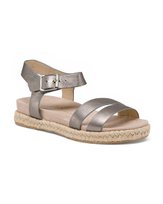 Wide Comfort Flat Leather Espadrille Sandals
