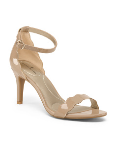 Patent Scalloped Ankle Strap Sandals