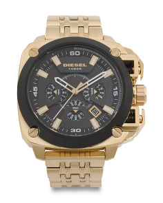 Mens Bamf Gold Tone Chrono Bracelet Watch
