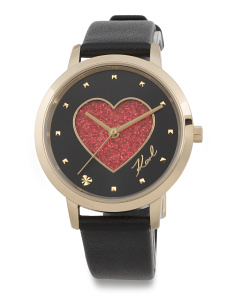 Women's Camille Glitter Heart Dial Leather Strap Watch